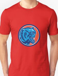 Grizzly Bear Angry Head Circle Retro Unisex T-Shirt