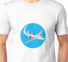 Commercial Light Passenger Airplane Circle Retro Unisex T-Shirt
