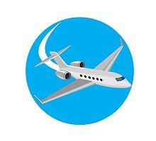Commercial Light Passenger Airplane Circle Retro by patrimonio