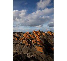 seascapes #219, orange lichen rocks Photographic Print