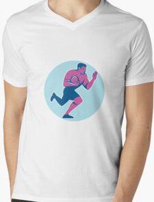 Rugby Player Fend Off Circle Retro Mens V-Neck T-Shirt
