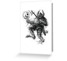 Comicalrabbitearedballooncarryingboxershortsmonster Greeting Card