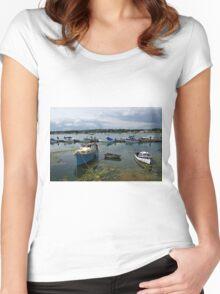 Bembridge Harbour Scene Women's Fitted Scoop T-Shirt