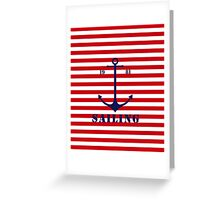 Captain anchor on thin red navy stripes marine style  Greeting Card