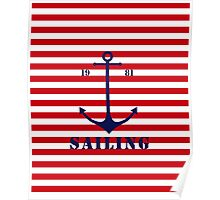Captain anchor on thin red navy stripes marine style  Poster