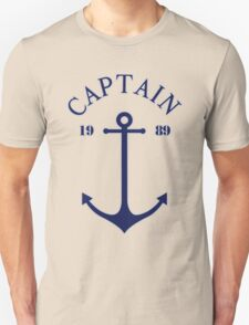 Captain anchor on thin red navy stripes marine style  Unisex T-Shirt