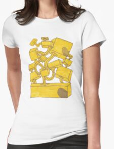 Yellow 3D Blocks by Seth Cummins Womens Fitted T-Shirt