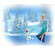 Olaf and Elsa Poster