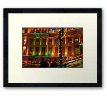 big building all lit up Framed Print