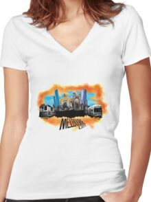 Melbourne City- City Collage Women's Fitted V-Neck T-Shirt