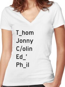 Thom, Jonny, Colin, Ed, and Phil - Radiohead Women's Fitted V-Neck T-Shirt