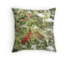 """Snow and Holly"" Throw Pillow"
