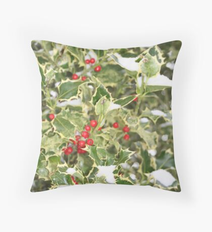 """""""Snow and Holly"""" Throw Pillow"""