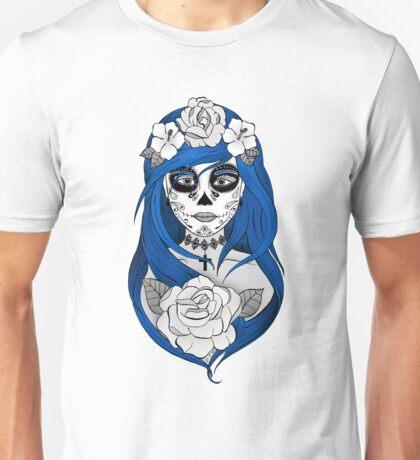 Santa Muerte Blue hair Unisex T-Shirt