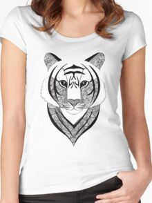 Tiger black and white Women's Fitted Scoop T-Shirt