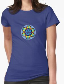 Blue and Yellow Mandala Womens Fitted T-Shirt