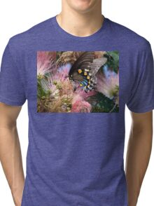 Pipevine Swallowtail Butterfly in Mimosa's Silky Blossoms Tri-blend T-Shirt