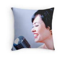 that shure mic smile  Throw Pillow