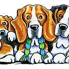 3 Beagles by offleashart