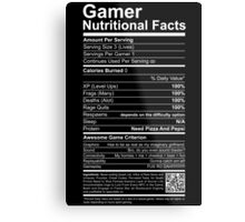 Gamer Nutritional Facts Metal Print