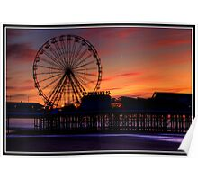 Sunset over Blackpool pier Poster