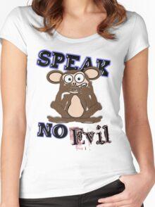Speak No Evil Monkey Tee (fur) Women's Fitted Scoop T-Shirt