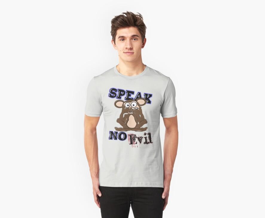Speak No Evil Monkey Tee (fur) by BluAlien
