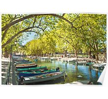 Annecy, boats and channel from lovers' bridge Poster