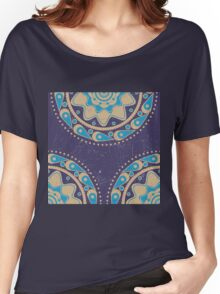 Grunge blue ornament Women's Relaxed Fit T-Shirt