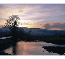 Sunset over snow and Hawes Photographic Print