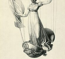 Portrait of French balloonist Sophie Blanchard standing in the decorated basket of her balloon during her flight in Milan, Italy, in 1811 by Adam Asar