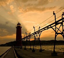 Sunrise Behind the Lighthouse by Randall Scholten