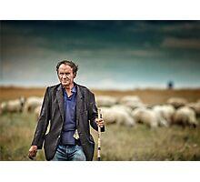 Shepherd and his sheep Photographic Print