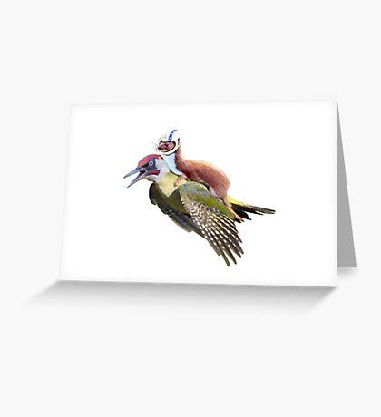 Flying Woodpecker Weasel Knievel Meme Greeting Card