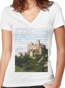 El Castillo De Loarre Women's Fitted V-Neck T-Shirt