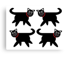 4 Black Cats in Red Collars Canvas Print