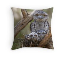 Tawny Frogmouth Family Throw Pillow
