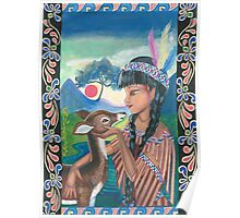 The Native American Girl And The Fawn Poster