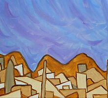 Desert Town with Lavender Sky, Original Acrylic Painting  by ShiningEyeArts