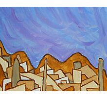 Desert Town with Lavender Sky, Original Acrylic Painting  Photographic Print