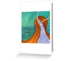 Woman By The Sea, Abstract Portrait  Greeting Card