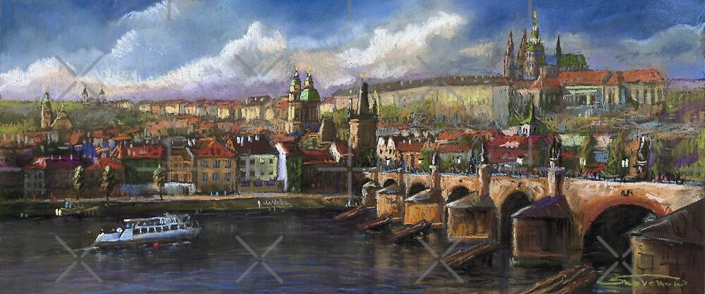 Prague Panorama Charles Bridge Prague Castle by Yuriy Shevchuk
