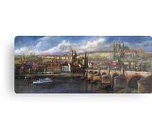Prague Panorama Charles Bridge Prague Castle Metal Print