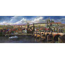 Prague Panorama Charles Bridge Prague Castle Photographic Print