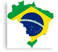 Brazil Flag Map Canvas Print
