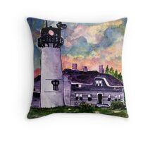 Chilmark Lighthouse Painting Marthas Vineyard Massachusetts Throw Pillow
