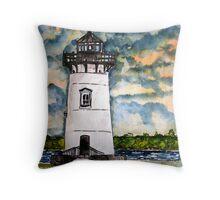 Edgartown Lighthouse Painting Marthas Vineyard Massachusetts Throw Pillow