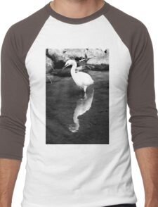 White Crane Reflection - Tokyo, Japan Men's Baseball ¾ T-Shirt