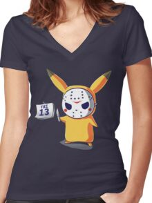 Pika the 13th Women's Fitted V-Neck T-Shirt