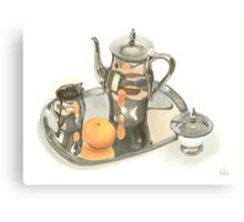 Tea Service with Orange Canvas Print